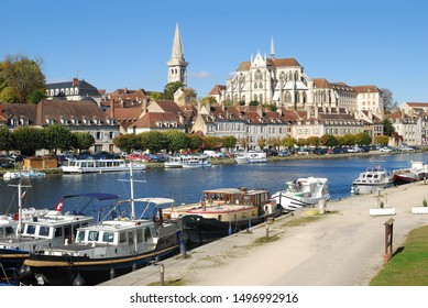 Auxerre at River Yonne in Burgundy,France