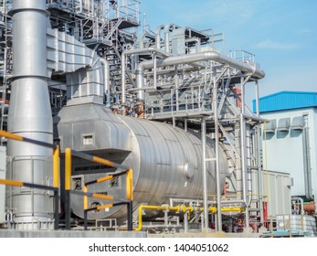 Auxiliary boiler systems from natural gas which include stack, burner, boiler and sky in power plant.