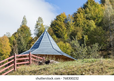 Auxiliary extension of the farm at the foot of the Carpathian Mountains near the town of Bran in Romania