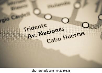 Av. Naciones Station. Alicante Metro map.
