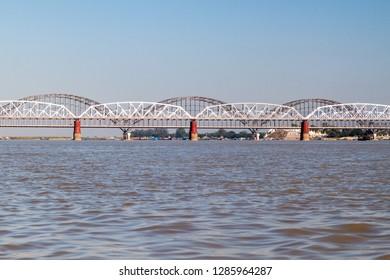 Ava (Inwa) and Sagaing (Yadanabon) bridges crossing Irrawady (Ayeyarwady) river in Sagaing near Mandalay, Myanmar