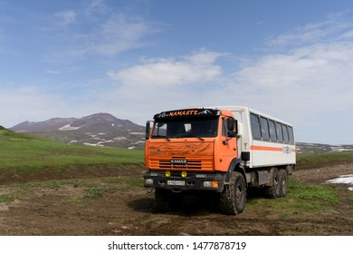 Avacha base camp, Kamchatka / Russia - July 27 2019: KAMAZ, six wheel off road all terrain vehicles of Russian origin, meant for transporting military as well as civilians in harsh road conditions.