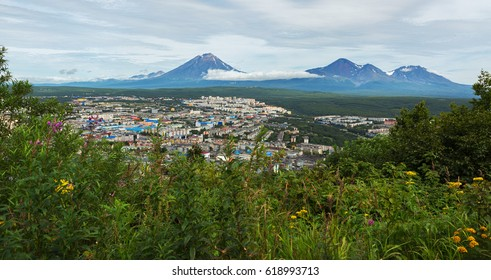 Avachinsky-Koryaksky group of the volcanoes and Petropavlovsk-Kamchatsky from Mishennaya hills