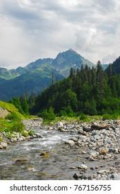 Avadhara  Abkhazia summer time landscape mountain village