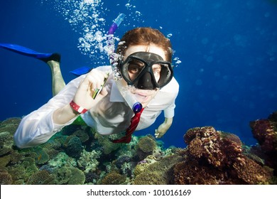 Available by cell phone everywhere -  even underwater - man having a conversation underwater