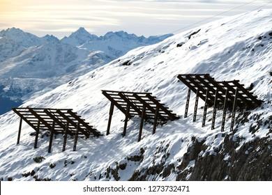 Avalanche control or avalanche defense in the Austrian alps, Europe's top ski area, Tyrol Austria.