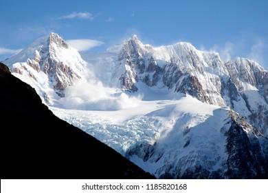 Avalanche falling down the Adela slope in El Chalten in Santa Cruz, Argentina