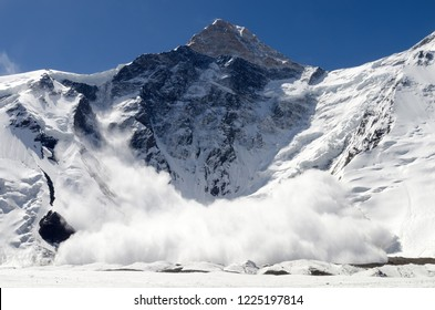 Avalanche from Khan Tengri Peak, Central Tian Shan, Kazakhstan - Kyrgyzstan - China