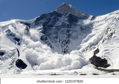 Avalanche from Khan Tengri Peak, Central Tian Shan, Kazakhstan - Kyrgyzstan - China