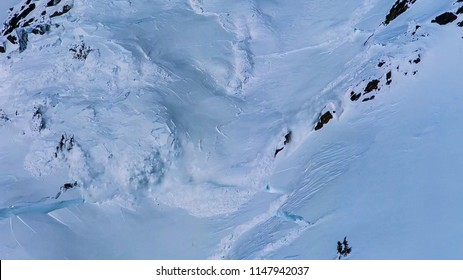 an avalanche in the mountains in winter