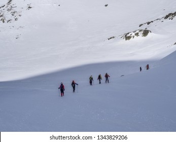 Avalanche rescue training of mountaineers in snowy winter High Tatras captured close by Teryho Hut (Teryho Chata). High Tatras, Slovakia.