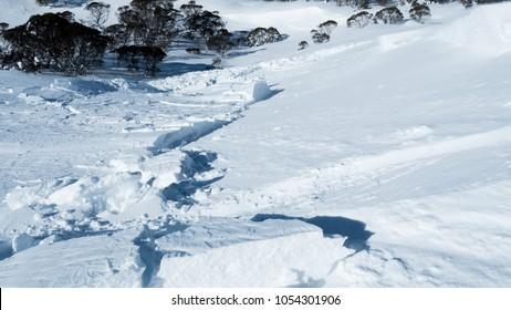 Avalanche Slide Thick Snow Shelf