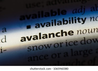 avalanche word in a dictionary. avalanche concept.