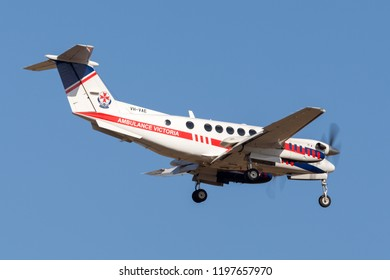 Avalon, Australia - February 22, 2013: Air Ambulance Victoria Hawker Beechcraft B200C King Air twin engine aircraft VH-VAE.