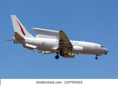 Avalon, Australia - February 25, 2013: Royal Australian Air Force (RAAF) Boeing E-7A Wedgetail A30-003 twin-engine airborne early warning and control (AEW-C) aircraft.