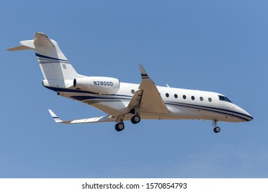Avalon, Australia - February 25, 2013: Gulfstream Aerospace G280 twin-engine luxury business jet aircraft N280GD.