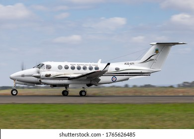 Avalon, Australia - February 26, 2015: Royal Australian Air Force (RAAF) Beechcraft King Air 350 aircraft from 38 Squadron on approach to land at Avalon Airport.