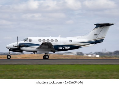 Avalon, Australia - February 26, 2015: Beech B200 Super King Air twin engine turboprop aircraft on the runway at Avalon aIrport.