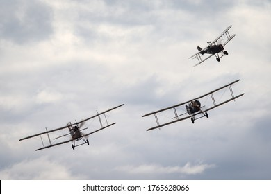 Avalon, Australia - February 27, 2015: Bristol F.2 Fighter British two-seat biplane fighter and reconnaissance aircraft of the First World War flying in formation with a Royal aircraft factory R.E.8.