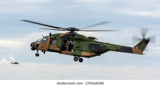 Avalon, Australia - February 27, 2015: MRH-90 Taipan multirole military helicopter jointly operated by the Australian Army and Navy.