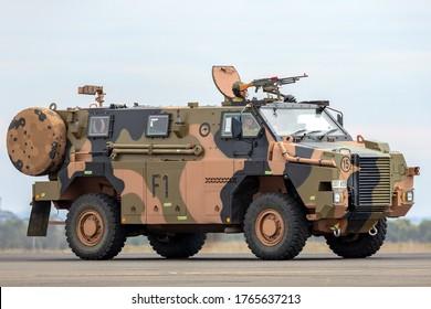 Avalon, Australia - February 27, 2015: Australian Army Bushmaster armoured Personnel carrier (APC).