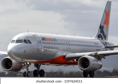 Avalon, Australia - February 28, 2013: Jetstar Airways Airbus A320-232 airliner aircraft VH-JQL on the runway.