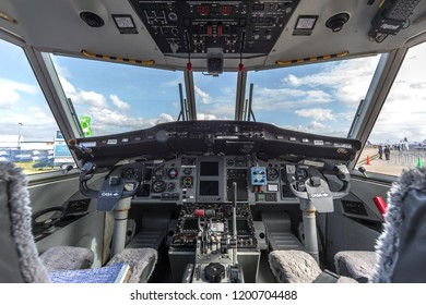 Avalon, Australia - February 28, 2013: Cockpit of Casa C-212 twin engine transport aircraft VH-VHB operated by Sky Traders.