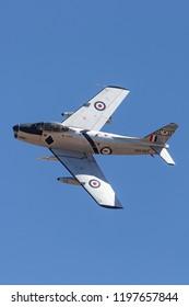 Avalon, Australia - March 2, 2013: Former Royal Australian Air Force (RAAF) Commonwealth Aircraft Corporation CA-27 Sabre jet aircraft.