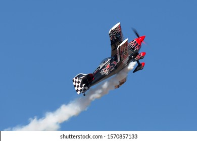 Avalon, Australia - March 2, 2013: Skip Stewart flying his highly modified Pitts S-2S biplane Prometheus