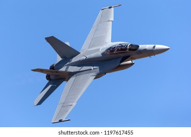 Avalon, Australia - March 3, 2013: Royal Australian Air Force (RAAF) Boeing F/A-18F Super Hornet multirole fighter aircraft A44-222 based at RAAF Amberley in Queensland.