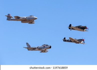 Avalon, Australia - March 3, 2013: Former Royal Australian Air Force (RAAF) Commonwealth Aircraft Corporation CA-13 Boomerang leading a Supermarine Spitfire, Gloster Meteor and CAC Sabre in formation.