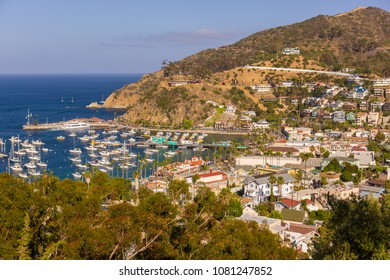 AVALON, CALIFORNIA, USA - JUNE 21, 2009: Harbor and town of Avalon, Santa Catalina Island