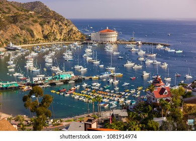 AVALON, CALIFORNIA, USA - JUNE 21, 2009: Harbor and Casino in town of Avalon, Santa Catalina Island.