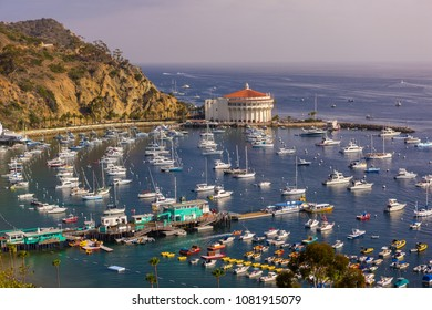 AVALON, CALIFORNIA, USA - JUNE 21, 2009: Harbor and Casino in town of Avalon, Santa Catalina Island