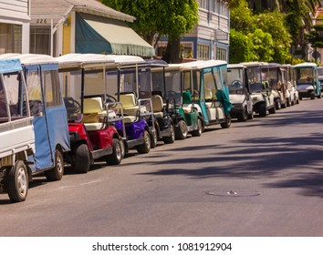 AVALON, CALIFORNIA, USA - JUNE 23, 2009: Golf carts in town of Avalon, Santa Catalina Island