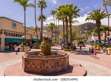 AVALON, CALIFORNIA, USA - JUNE 23, 2009: Fountain with colorful tile, Santa Catalina Island