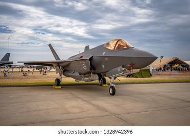 Avalon, Melbourne, Australia - Mar 3, 2019: F-35 military fighter jet