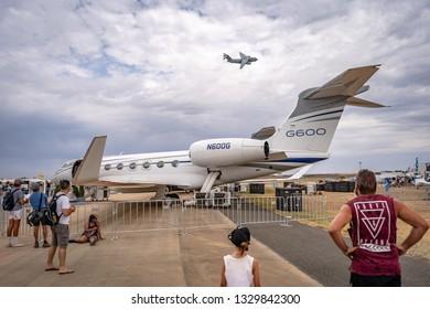 Avalon, Melbourne, Australia - Mar 3, 2019: Gulfstream G600 private jet