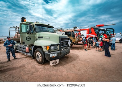 Avalon, Melbourne, Australia - Mar 3, 2019: Army and firefighting trucks