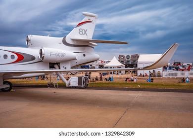 Avalon, Melbourne, Australia - Mar 3, 2019: Dassault Falcon 8X private jet