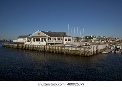 Avalon, New Jersey, USA - August 23, 2016: A local landmark, the Avalon Yacht Club is situated on the Intracoastal Waterway just south of Townsendâ??s Inlet in Avalon, New Jersey on August 23, 2016