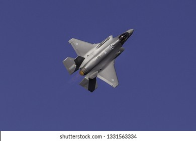 Avalon, Victoria - Feb 25 2019: Australian Joint Strike Fighter, JSF, conducts high-G turns during Avalon Airshow demonstration flights.