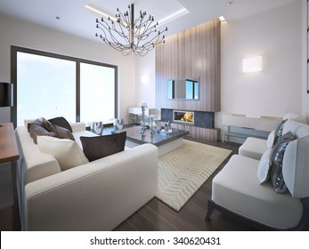 Avant-garde living room trend. High ceiling with neon lights, fireplace wood frame. White furniture, large panoramic window with entrance to balcony. 3D render