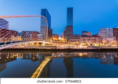 avantgarde skyline of downtown Bilbao, Spain