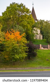 Avas Church and bell tower in Miskolc in autumn colors on top of Avas Hill
