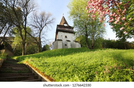 Avas Church and bell tower in Miskolc in spring colors on top of Avas Hill