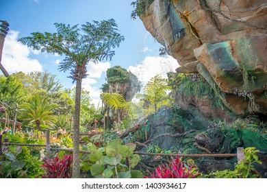 Avatar In Orlando Florida Universal Studios March 24, 2019 waterfalls, greenery, ble skies