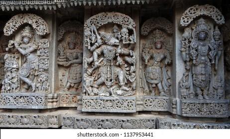 Avatars of Lord Vishnu on relief of Lakshmi Narasimha Temple, Nuggehalli, Hassan District of Karnataka state, India. The temple was built in 1246 CE rule of Hoysala Empire.