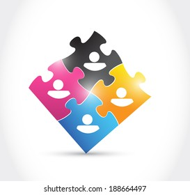 avatars and puzzle pieces illustration design over a white background
