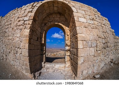 Avdat National Park, UNESCO World Heritage site, Ein Avdat , Negev desert, Israel. In Hellenistic Period and early Roman era was a station along the Nabatean Incense Route, Israel. Taken with a Fishey